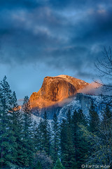 Yosemite Valley - Half Dome Sunset_HDR_1342_43_44_45_46 (www.karltonhuberphotography.com) Tags: 2015 california clearingstorm clouds drama forest geology goldenlight halfdome iconic karltonhuber landscape light mountain nature outdoors sky sunset verticalimage weather wildplaces yosemite yosemitenationalpark yosemitevalley