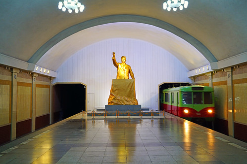 Golden statue of young Kim Il Sung at Kaeson metro station, Pyongyang