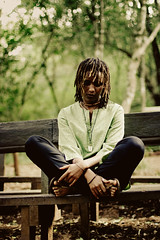 - potter | creator lV | lll - (Philip Kisia) Tags: outdoor outdoors bench leaves trees oloolua nature trail necklaces necklace choker dread dreadlocks swahili nubian ebony african brown skin nairobi kenya karen pelz pelzphotography portrait portraits people