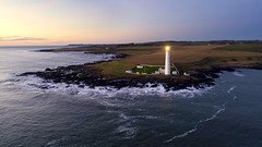 Scurdie Ness lighthouse and the view southwards. (iancowe) Tags: scurdie ness lighthouse montrose ferryden north sea esk stevenson drone dji phantom 4 pro dawn sunrise scotland scottish nlb northernlighthouseboard lunan bay usan aerial