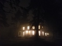Spooky House In The Fog 2 (niftyc) Tags: outdoors house outside haunted spooky night fog lights woods