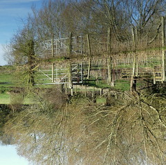 Turning your world upside down? HFF (robbie20161) Tags: nature countryside sky reflection gates hff fencefriday trees water thrupp oxfordshire