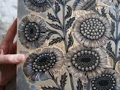Carving the Daisy Bouquet Woodcut (Tugboat Printshop) Tags: wood flower art print carving printmaking daisy bouquet process edition woodcut woodcarving woodblock tugboatprintshop
