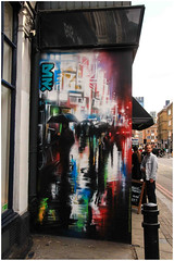 East End Street Art (Mabacam) Tags: streetart london rain wall graffiti mural wallart urbanart shoreditch freehand publicart umbrellas aerosolart spraycanart eastend dnk 2015 urbanwall dankitchener