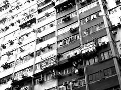 Hong Kong Windows (shazell212) Tags: china urban blackandwhite bw monochrome skyline architecture canon hongkong asia cityscape citylife streetphotography greyscale canonpowershot eastasia asiapacific bwarchitecture canong16