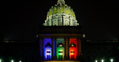 Pennsylvania Capitol Building is lit to honor the Supreme Court's same sex marriage ruling