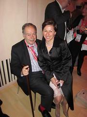 Tania de Jong AM sitting on Edward de Bono's lap