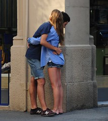 Why waste time on hostility? (David Lavine) Tags: barcelona boy girl hug kiss romance hostility qwurky