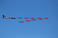Escort (Bernie Condon) Tags: royalairforce redarrows rafat raf hawk trainer bae team formation avro vulcan bomber xh558 vtts military warplane