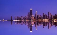 skyline water (olsonj) Tags: sunset chicago skyline architecture lakemichigan northavebeach