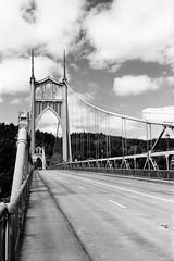 St. Johns Bridge (colinpoe) Tags: 120 620 6x9 bw blackandwhite ektarlens gothic kodakmedalist medalist medalistii or oregon portland rodinal150 stjohn stjohnsbridge trix trix400 bridge mediumformat rangefinder redfilter suspensionbridge