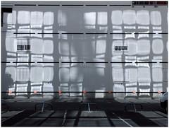 Tout ce que je vois ou crois voir .... (michelle@c) Tags: urban suburban abstraction geometry grid white light shadow reflection parking boulognebillancourt 2016 paris michellecourteau