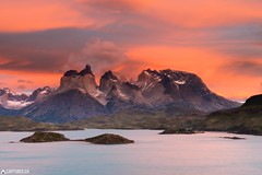 Dawn at the Los Cuernos - Torres del Paine (Captures.ch) Tags: 2016 black blue brown captures chile clouds december gray ice lagopehoe lake landscape loscuernos mountains nature orange perfect red sky snow sunrise torresdelpaine travel unreal water wave white yellow wow
