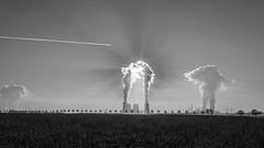fusion (mniesemann) Tags: ifttt 500px sky trees grevenbroich field black white sun aeroplane flugzeug powerstation smoke clouds nikon d810
