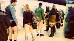 Incoming train! (Georgie_grrl) Tags: nopantssubwayride npsr pantsless hangingoutwithmichael literally freeyourlegs fun ttc subway event silly justforthefunofit worldwideevent toronto ontario westbound platform train motion incoming