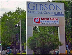ODC-A New Heart In The Hood (Jo Zimny Photos) Tags: street trees sky signs green sign heart albuquerque pharmacy shape gibson odc medicalcenter haveaheart topazclean topazadjust totalcare pse13