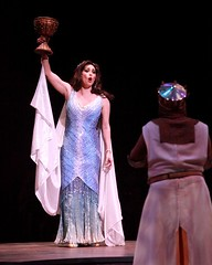 """Lesli Margherita as the Lady of the Lake and Gary Beach as King Arthur in the 2010 Music Circus premiere of the Tony Award-winning Best Musical """"Monty Python's Spamalot"""" at the Wells Fargo Pavilion, July 9-18.  Photo by Charr Crail."""