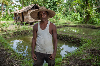 Moses Liukali stands by his homestead aquaculture ponds, Taflankwasa village, Malaita Province, Solomon Islands. Photo by Filip Milovac.