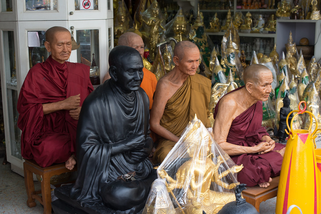 Creepy monk statues