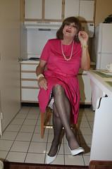 new66805-IMG_5767t (Misscherieamor) Tags: kitchen tv sitting feminine cd motel tgirl transgender mature sissy tranny transvestite crossdress ts gurl tg travestis travesti travestie m2f xdresser tgurl slipshowing pleatdress