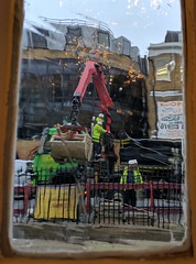 A Construction Work (Zoom In) (Henry Hemming) Tags: builders work construction glass distorted constructed hard hat people