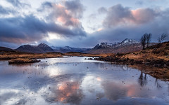 Last Light at Lochan na Stainge (Stoates-Findhorn) Tags: 2017 blackmount clouds dusk glencoe ice lochaber lochannastainge rannochmoor scotland snow sunset winter reflections unitedkingdom