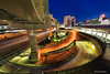 Curve (koshichiba) Tags: yokohama express light trails long exposure japan nightscape night urban landscape asia blue twilight skyline city junction cityscape traffici jct fisheye highways cars
