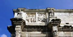 Reliefs showing Presentation of a Barbarian King (left) and Barbarian Captives (right), era of Marcus Aurelius (or Commodus), Arch of Constantine (south)