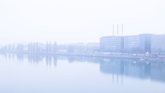 A Foggy Morning in Basel (HansPermana) Tags: basel switzerland dieschweiz morning foggy autumn rhine river water reflection longexposure riverside dreirosenbrücke