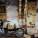 Motorcycle in Alleyway, Bharuch Gujarat India