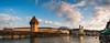 The Chapel Bridge (Nomadic Vision Photography) Tags: summer switzerland europe panoramic lucerne iconic chapelbridge reussriver jonreid coveredwoodenbridge tinareid nomadicvisioncom