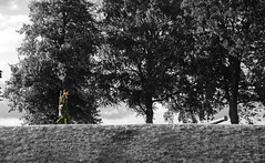 Lone Soldier (James-306) Tags: blackandwhite white black colour green copenhagen denmark soldier march little fort hill guard mermaid selective kastellet armed