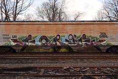 FORGE (TheGraffitiHunters) Tags: graffiti graff spray paint street art colorful freight train tracks benching benched forge hopper e2e