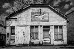 Dove Outreach (new edit) (tim.perdue) Tags: dove outreach waverly ohio small town urban decay forgotten abandoned black white bw monochrome vacant crumbling peeling paint broken window boarded up door ghost sign