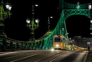Liberty bridge at night