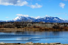 Icing on the Lake (Patricia Henschen) Tags: walsenburg lathropstatepark coloradoparkswildlife colorado martin lake clouds mountains mountain lathrop statepark water ice winter rural wetland sangredecristo