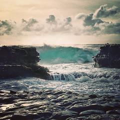Rocky side of Sandy Beach (Remember To Breathe) Tags: sandybeach oahu ocean wild wildocean stormyocean storm light iphone pacific pacificocean rocks lavarocks