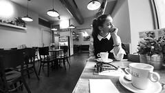 Ana is thinking (Luis Marina) Tags: thinking meditation relax meditacion calma cafe te reposo relajación mirada animo conversación talk mood retrato portrait newyear añonuevo barcelona gracia bnw bw byn 11mm lg g5 contraste people street gente chica girl