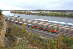 Pair of H2's (GLC 392) Tags: bnsf burlington northern santa fe ge c449w h2 paint scheme saint paul st dayton daytons bluff 4037 4175 mississippi river tow boat barge tug tree rocks drop off auto racks railroad railway train clouds cloudy airport