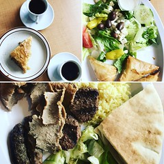 A little taste of Mediterranean tradition: great food, salad, and Turkish coffee. #food #greekfood #turkishcoffee #mediterraneanfood (kaltrinacarney) Tags: spanakopita baklava fresh healthy salad lunch meal rice gyro lamb food foodie mediterranean turkishcoffee coffee