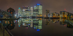 Canary Wharf Reflection (scarlet-pimp) Tags: night landscape citi hsbc bridge reflection barclays buildings cityscape boats building towers bank calm financial canarywharf blackwallbasin skyscraper london waterfront water outdoor architecture sky shimmer statestreet skyline places panorama
