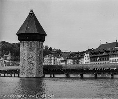 Lucerne (Pics by Ales Caneve) Tags: old blackandwhite white black schweiz switzerland streetphotography luzern tourist times lucerne yashica oldtimes reuss seebrcke yashica44 kappelbrcke yashica44lm