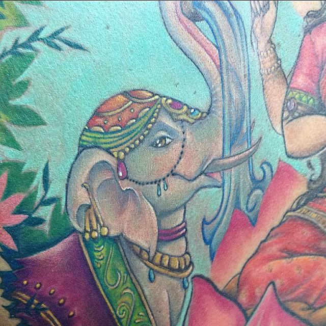 0d42f8783 indian elephant tattoo (Melina_Villaverde) Tags: uk england elephant color  colour london art tattoo