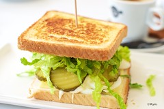 Lunch (Kym.) Tags: andalucía andalusia bread café cheese coffee day4 egg food gherkin lettuce lunch nerja pickles sandwich somebodyelseskitchen spain toast