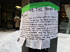 Help Save the People of Aleppo (Exile on Ontario St) Tags: aleppo syria alep save people evacuation russian government russia canada canadian justintrudeau pm consulate genocide war refugees crisis refugee syrian sign help conflict world news ndg evacuations putin réfugiés réfugié syrien syriens montréal notredamedegrâce message politics activism note bombing chlorine attack lamppost