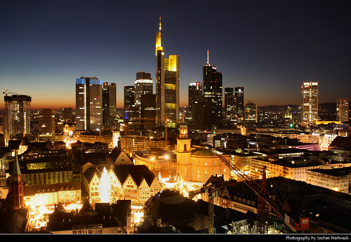 Skyline seen from Domturm @ Night, Frankfurt, Germany