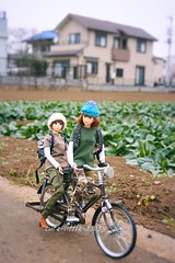 """""""Let's go home before it rains!!"""" ;-) (cute-little-dolls) Tags: momokodoll bike friends doll toy cloudy cold winter cycling"""
