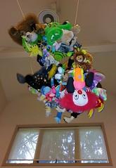Hanging and stuffed (Wolfram Burner) Tags: uo universityoforegon university oregon uofo uoregon college campus school art sculpture stuffed animals clowns ceiling hanging wolfram burner