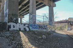 Dak, Disto, Maude, Prod (NJphotograffer) Tags: graffiti graff new jersey nj trackside rail railroad bridge dak disto distort aids goa crew maude prod clout