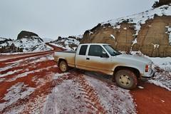 Gritty - Bear Den Road, McKenzie County, ND (MinnKota Railfan) Tags: bear den road oil oilfield field bakken mckenzie county 53a gmc general motors sierra truck pickup badlands